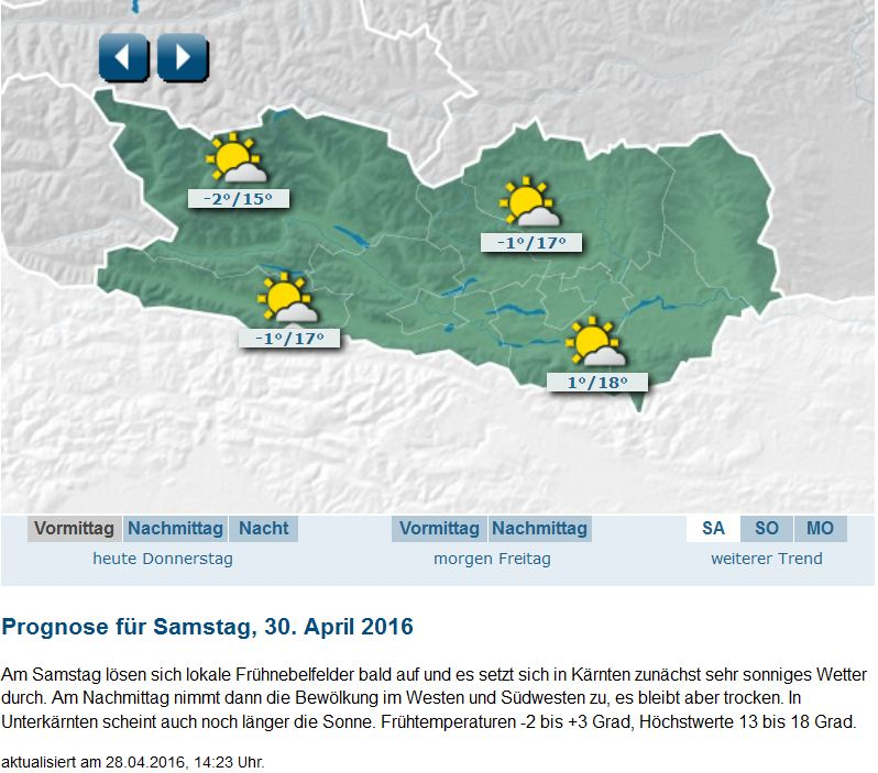 Wettervorschau Samstag